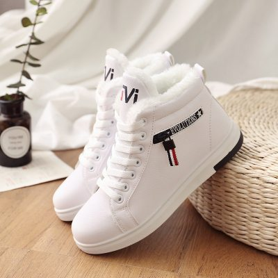2019 Winter Boots Women Ankle Boots Warm PU Plush Winter Woman Shoes Sneakers Flats Lace Up Ladies Shoes Women Short Snow Boots