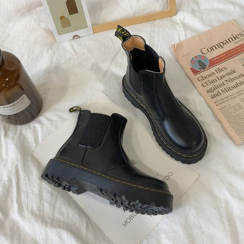Martin Boots Women British Style 2020 New Autumn Retro Wild Thick-soled Increased Chelsea Motorcycle Boots Women Shoes