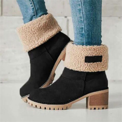 Women Winter Fur Warm Snow Boots Ladies Warm wool booties Ankle Boot Comfortable Shoes plus size 35-43 Casual Women Mid Boots
