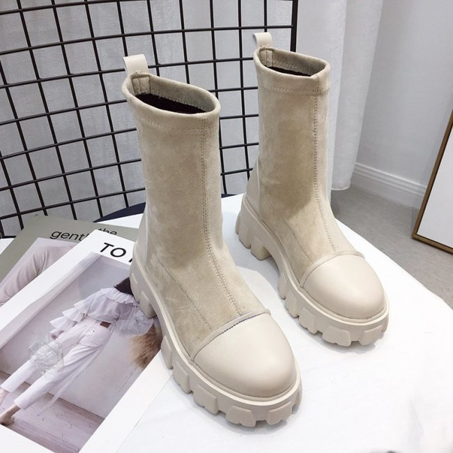 Black Sock Boots Women 2020 New Punk Gothic Shoes Ankle Boots Platform Shoes Women White Sock Boots