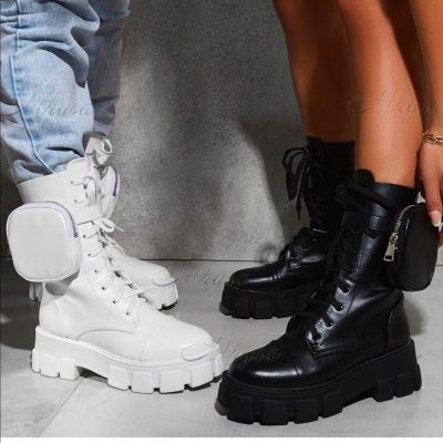 2020 New Chunky Boots Fashion Pocket Platform Boots Women Ankle Boots Female Sole Pouch Ankle Boots Women Botas Mujer Plus Size