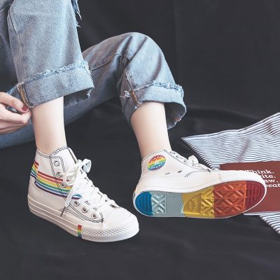 Women Rainbow Shoes High Up Lacing Girls White Sneakers Colorful 2019 Summer New Students Casual Shoes Zapatillas Lona Mujer
