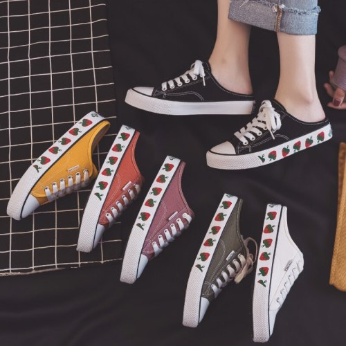 Women White Shoes with Strawberry Lady Vulcanized Half Canvas Shoes Semi-slipper Slip on Spring Shoes Solid Color Tenis Feminino