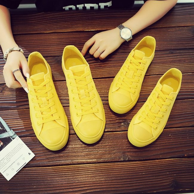 Women Yellow Sneakers Girls White Canvas Shoes Low Top Lace Up Flat Heel Good Quality Female Black Trainers Simple Style 35-40