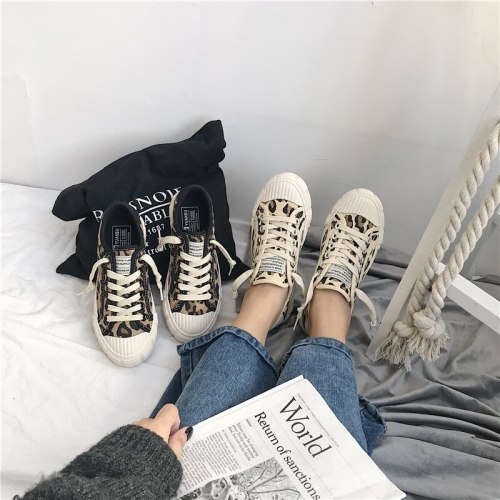 Spring Women Canvas Shoes Leopard Lace Up Lady Sneakers 2020 Flat Heel Thick Canvas Tiger Ins Hot Selling Fashion Shoes 35-40