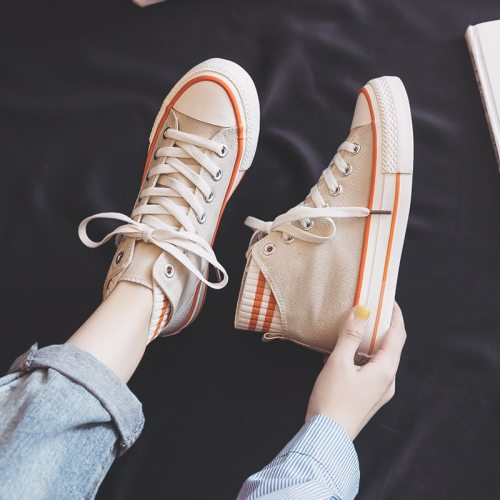 Women Orange Shoes High Up Lacing Mixed Colors Flat Heel Girl Sneakers 2021 Spring New Fashion Shoes Trainers Nice Quality Cloth