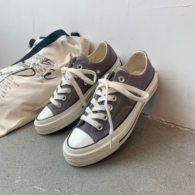 Gray Shoes Women Basic Classic Style All Match Low High Lace Up Flats Gumshoes Girl Students Leisure Sneakers 35-40 Good Quality