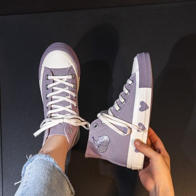 Light Purple Canvas Shoes for Girls High Top Lace Up Heart Shape Woman Gumshoes Chic Sneakers Good Quality Students Casual Shoes