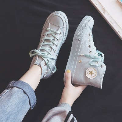 2020 Spring New Canvas Shoes Women Flat Sneakers Pink Casual Shoes Lace Up High-top Solid Color Flats Good Quality 35-40 Trainer