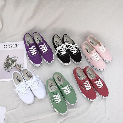 2019 women pink canvas shoes candy color unisex shoes spring autumn all match must have lovers casual sneakers flat heel 35-43