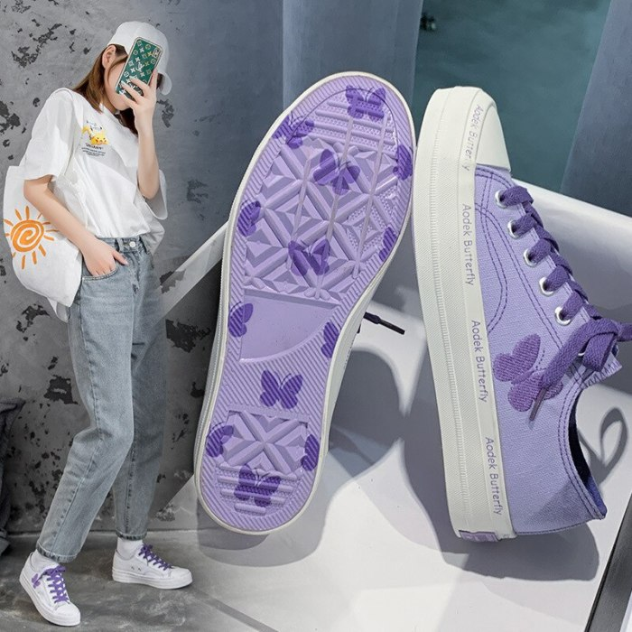 Butterfly Canvas Shoes Women's Sneakers Girls Casual Gumshoes Lavender Trainers Low Lacing Embroidery Butterfly Cloth Shoes 40