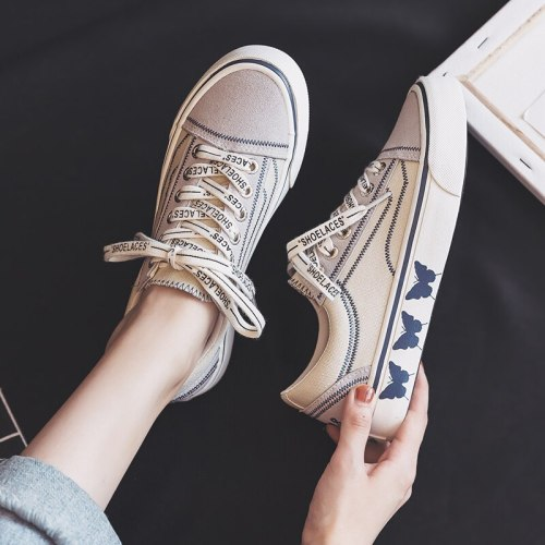 Girls Gumshoes Butterfly Low Top Lace Up Beige Black Women Canvas Shoes Casual 2020 New Spring Summer Sneakers Trainers 35-40