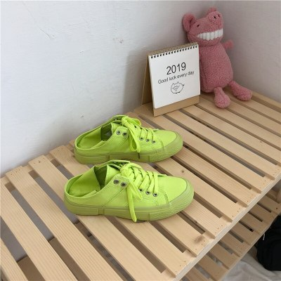 women canvas shoes fluorescent green girls pink sneakers cloth shoe spring autumn solid color lace up low up white trainer 35-40