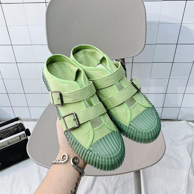 Woman Loafers Cookies Shoes Solid Color Green 35-40 Beige Sneakers Girls Black Casual Shoes Slip on Canvas Slipper Shoes Stylish
