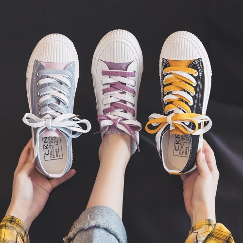 Women's Canvas Shoes Ulzzang All-match 2020 Summer Girls White Shoes Ins Fashion Mixed Colors Female Sneakers Sky Blue Gumshoes