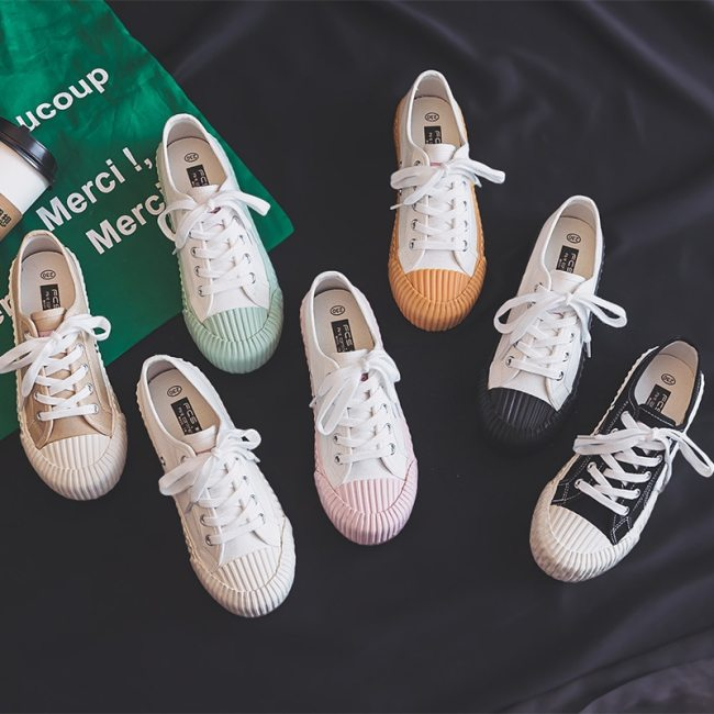 Canvas Shoes Female 2020 White Trendy Shoes Korean Ulzzang Cookies Sneakers Girls Vulcanized Shoes Casual Flat Heel 35-40 Pink