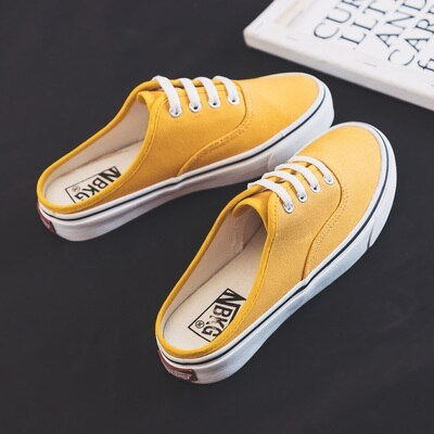 Women Half Slippers Girls Canvas Shoes Semi-slipper Candy Color Orange Shoes Casual Leisure Skateboard Shoes White Sneaker 35-40