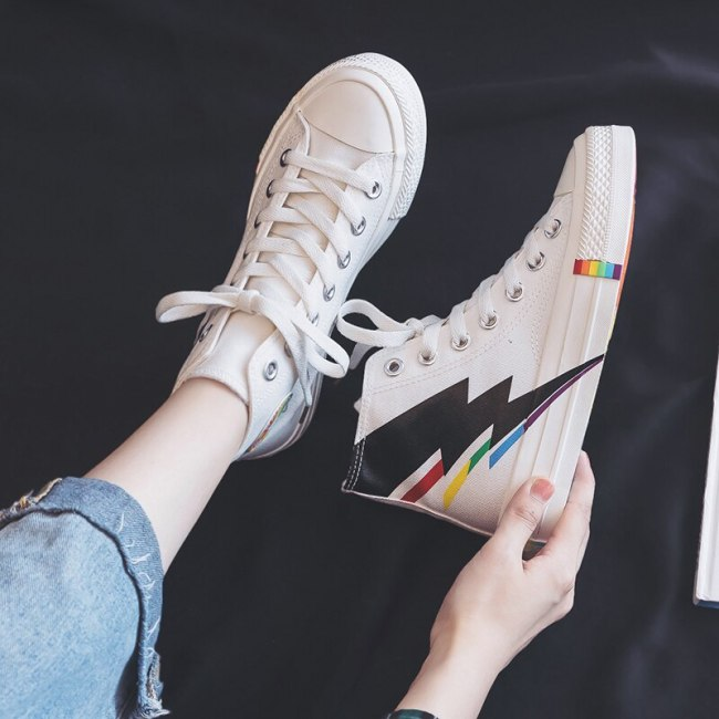 High-top Canvas Shoes for Women 2020 New Korean Style Ulzzang Sneakers for Students Chic Girls Sneakers Rainbow Sole Lace Up