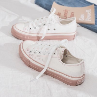 Women Sneakers 2020 New Spring Korean Canvas Shoes for Female Students Casual Shoes Lace Up Girl Pink Shoe Stylish All Match