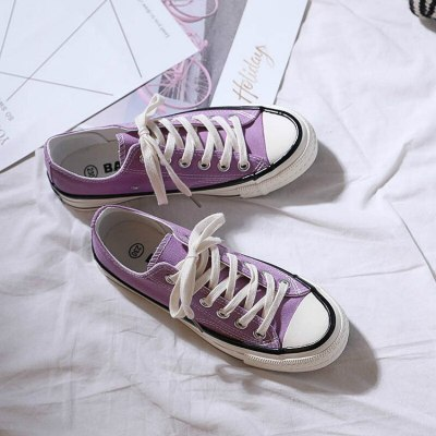 Girl Shoes Casual Lavender Light Purple Beautiful Sneakers All Match Solid Color Lace Up Flat Heel Canvas Shoes Students 35-40