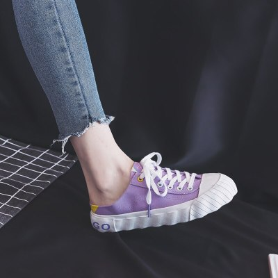 Women Canvas Slippers Lady Slipons Loafers for Girls Preppy Style 2020 New Lady White Sneakers Lazy Shoe Lavender Casual Shoes