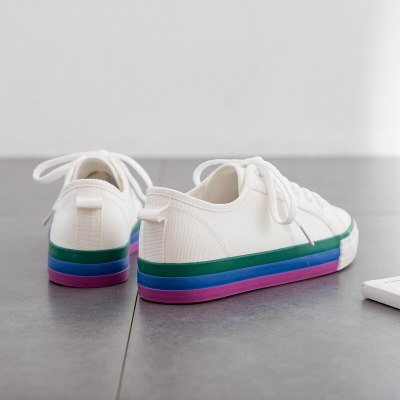 Rainbow Shoes Girls Non-slip Casual Shoes Colorful Sneakers Flat Heel Low Lacing 2020 Spring New Cloth Shoes 35-40 Good Quality