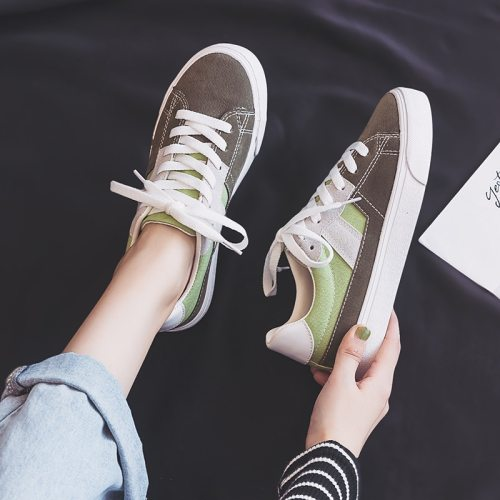 Chic Shoes Women Autumn Sneakers 2019 New Ins Style High Quality Girl Students Casual Shoes Mixed Colors Lace Up Low Green 35-40