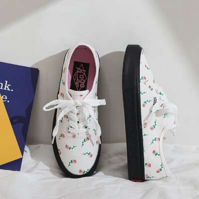 Girls Casual Shoes Rose Women Sneakers with Cute Cherry 2020 Autumn New All Match Sweet Flower Canvas Shoes Preppy Style 35-40