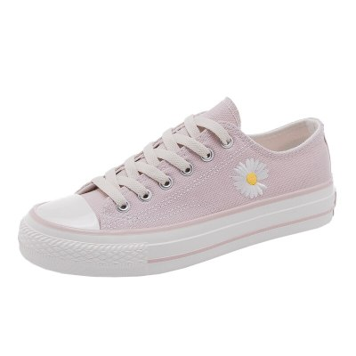 Daisy Canvas Shoes Women's 2020 Spring New Fashion Trends All-match Skateboard Shoes Low-Top Classic Black Sneakers Pink Floral