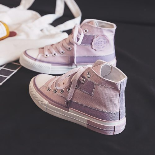 Canvas Shoes Women's 2021 Spring New Style Hight-top Trendy Shoes for Girls Casual Shoes Patchwork Mixed Color Skateboard Shoe