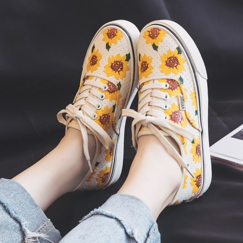 Chaussure Femme Marguerite Shoes Women 2019 Spring Summer New Floral Sneakers Girls Casual Canvas Shoe Sunflower Lovely Flats