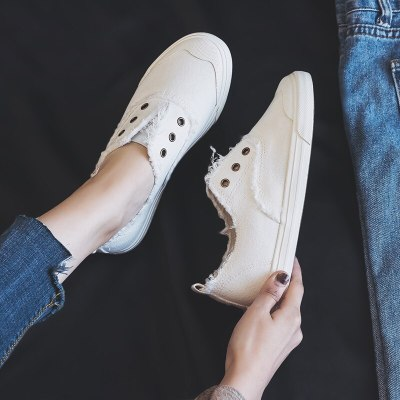 women loafers white concise basic style solid color slip on lady spring vulcanized shoe canvas cloth sneakers nice quality 35-40