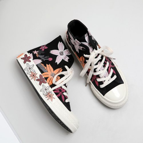 Women's Shoes Chic Korean Version Summer 2020 New Retro Style Blossom Black Canvas Shoes Flower Printing Beige High Sneakers