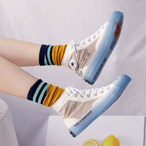 Women Shoes Autumn Trending Style Unisex Sneakers High Tops Transparent Sole Jelly Sole Cool Fashion Lovers Casual Shoes 35-44