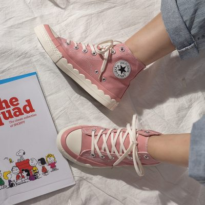 Trainers Girls Skateboard Shoes Street Style Women Pink Canvas Shoes Petal Sole Design Lady White Sneakers Lace Up 2019 New