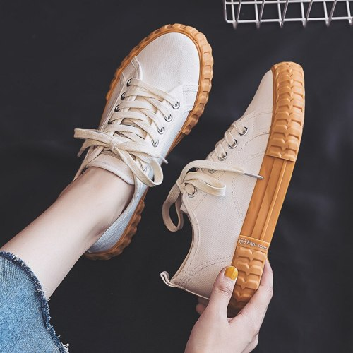 Women Canvas Shoes Cookie Sneakers Solid Color All Match Chunky Sole Lace Up Girls White Trainers Ins Fashion Style Student Shoe