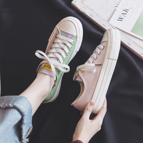 Women Rainbow Shoes Girls Colorful Sneakers 2021 Spring New Low Lace Up Orange Pink Mixed Multi Colors Students Trainers 35-40