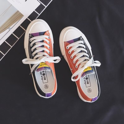 Women Rainbow Shoes Girls Colorful Sneakers 2020 Spring New Low Lace Up Orange Pink Mixed Multi Colors Students Trainers 35-40