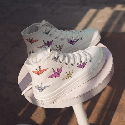 Women Chic Canvas Shoes Students Casual Shoes Fashion Sneakers High Paper Crane Color Changing 35-40 White 2020 Spring New