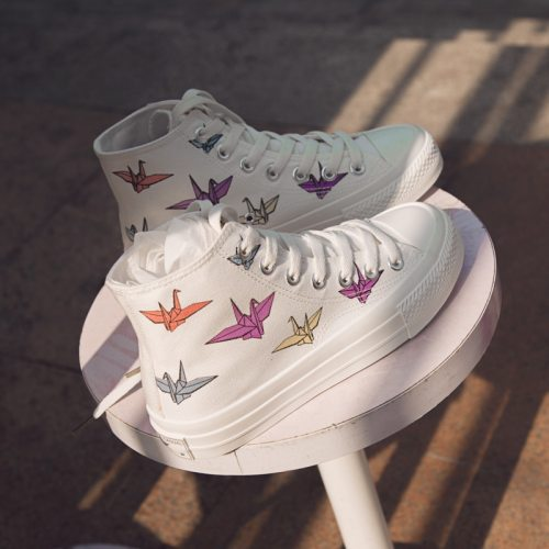 Women Chic Canvas Shoes Students Casual Shoes Fashion Sneakers High Paper Crane Color Changing 35-40 White 2021 Spring New