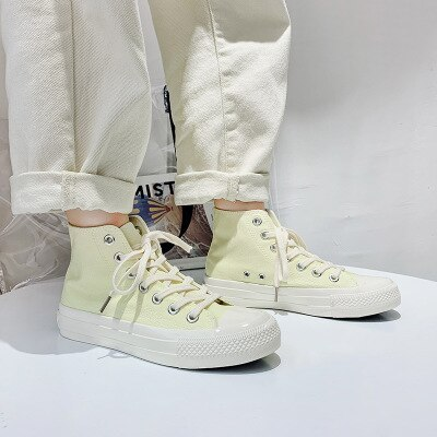 Girl Canvas Shoes Solid Color Sky Blue Sneakers High Top Gumshoes All Match Basic Concise Casual Leisure Shoes Autumn Summer