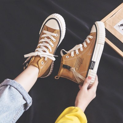 Women Canvas Shoes 2020 Spring New Girl Casual Shoes Flat Heel High Top Zipper Solid Color High Quality Sneakers Students Khaki