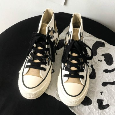 Pearl Milk Tea High-top Girl Canvas Shoes Women's Cute Printed Graffiti Chic Shoes 2020 Autumn New Good Quality 35-40 Sneakers
