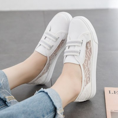 Women Casual Shoes 2020 Summer Hollow Out Lace Sneakers Slip on White Shoes for Girls 35-40 Flat Heel Breathable Flats Spring