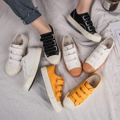 Women Biscuit Shoes Canvas Cloth Sneakers Solid Color 35-40 All Match Casual Shoes Hook Loop Fastners Flat Heel Good Quality