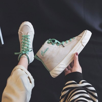 Zapatillas Deportivas Mujer Women Canvas Shoes Ladies Vulcanized High Top Lace Up Mixed Color 2019 New Tenis Femino Fashion Shoe