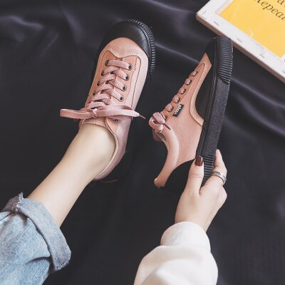 2020 Spring New Women Shoes Pink White Mixed Color Low Lace Up Flat Heel Outdoor Footwear Students Casual Shoes Girl Sneakers