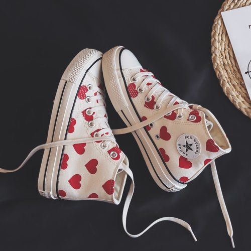 Hight-top Canvas Shoes Chic Women's 2020 New Style White Shoes Spring Korean-style Girls Heart Sneakers 35-40 High Low Lace Up