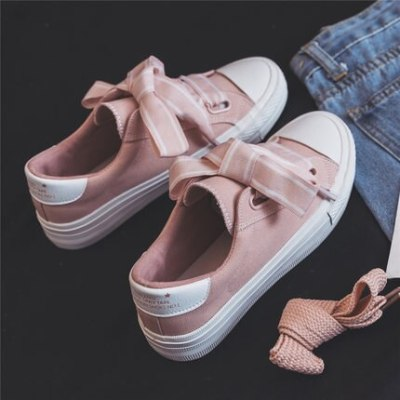 Women Shoes Spring Flat Heel Female Fashion Canvas Shoes Butterfly-knot Girls Shoes with Bowknot Zapatillas Deportivas Mujer