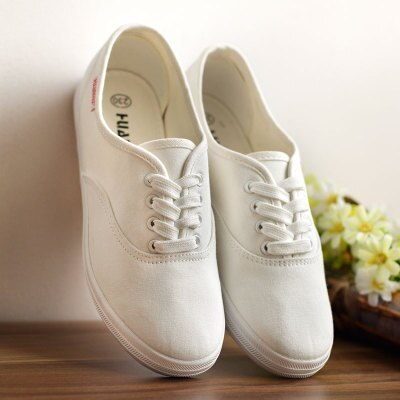 HUANQIU White Women Vulcanize Canvas Shoes Low Breathable Female Solid Color Flat Shoes Casual Candy Colors Leisure Cloth Shoes